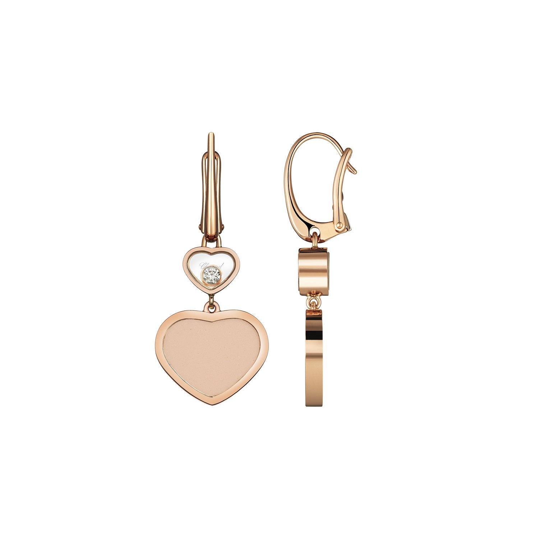 Boucles d'oreilles Chopard Happy Hearts en or rose, diamants et pierre rose vue 2