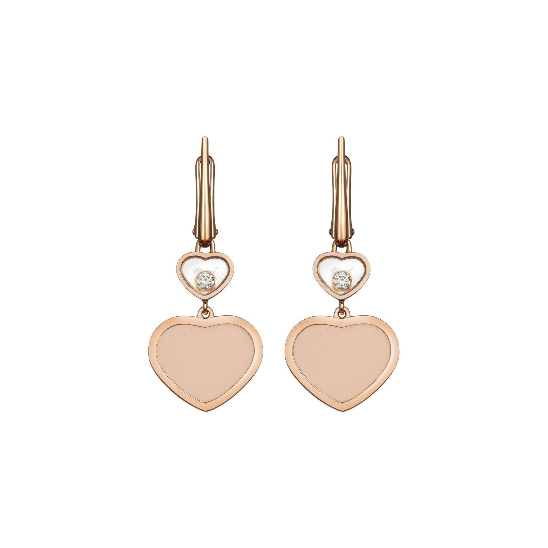 Boucles d'oreilles Chopard Happy Hearts en or rose, diamants et pierre rose vue 1