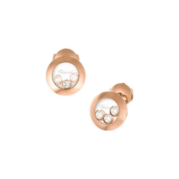 Boucles d'Oreilles Chopard Happy Diamonds en or rose et diamants vue 2