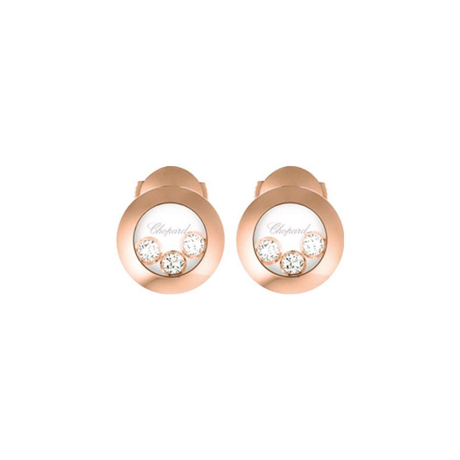 Boucles d'Oreilles Chopard Happy Diamonds en or rose et diamants vue 1