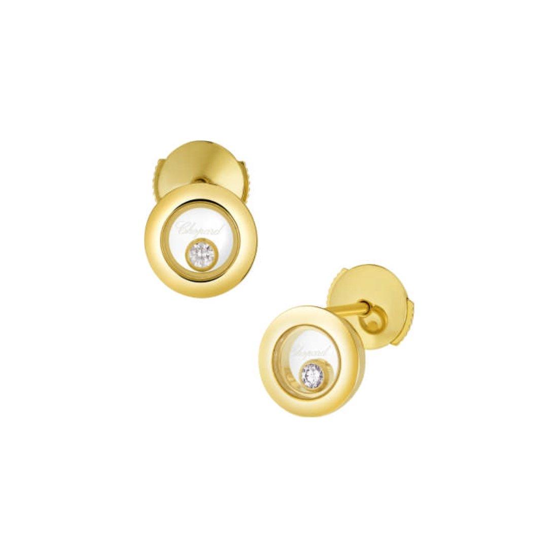 Boucles d'Oreilles Chopard Happy Diamonds en or jaune et diamants vue 1