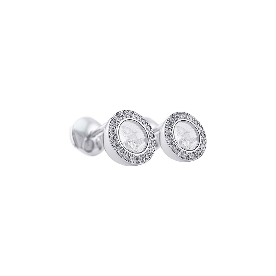 Boucles d'Oreilles Chopard Happy Diamonds en or blanc et diamants vue 3