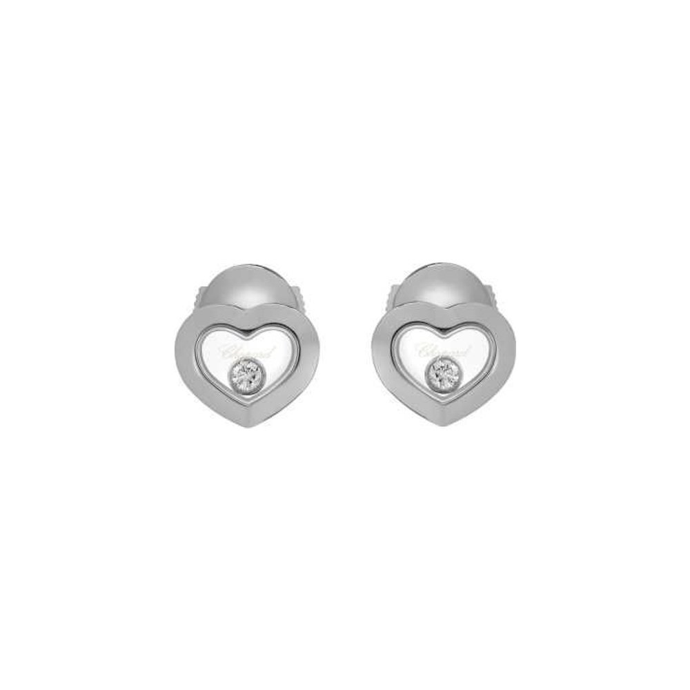 Boucles d'oreilles Chopard Happy Diamonds Icons en or blanc et diamants vue 3