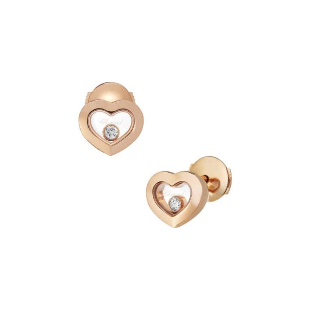 Boucles d'Oreilles Chopard Happy Diamonds en or rose et diamants