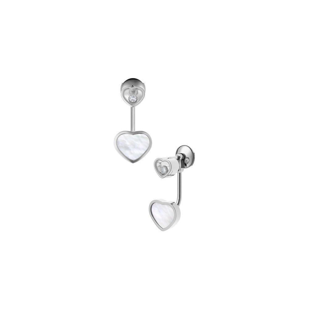 Boucles d'Oreilles Chopard Happy Hearts en or blanc et diamants