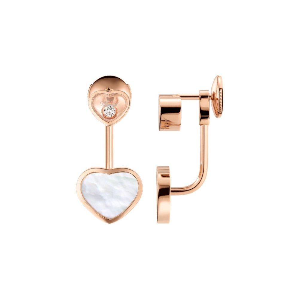 Boucles d'Oreilles Chopard Happy Hearts en or rose et diamants vue 2
