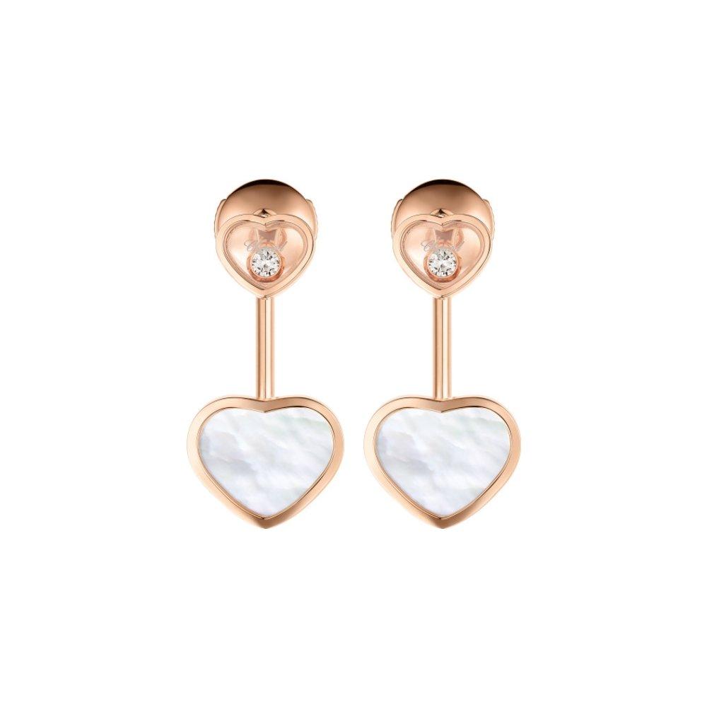 Boucles d'Oreilles Chopard Happy Hearts en or rose et diamants vue 3
