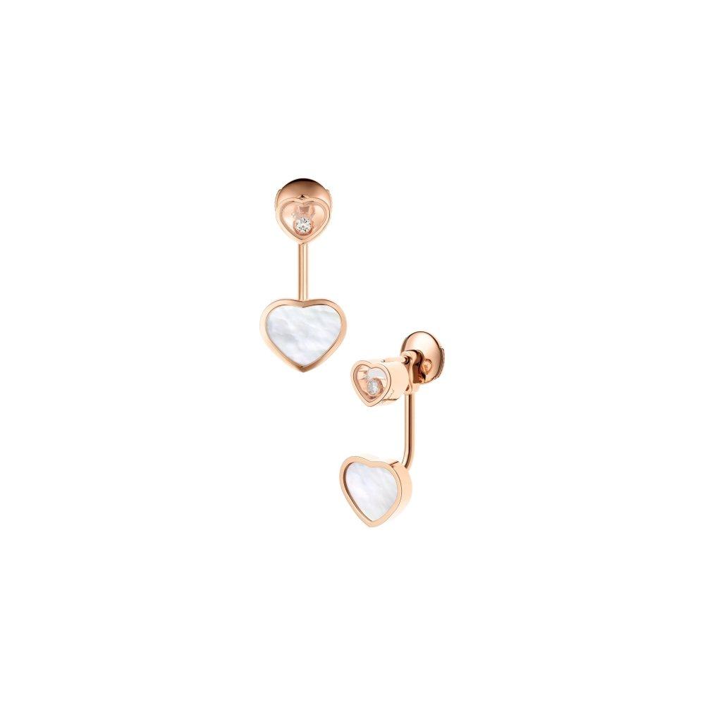 Boucles d'Oreilles Chopard Happy Hearts en or rose et diamants vue 1