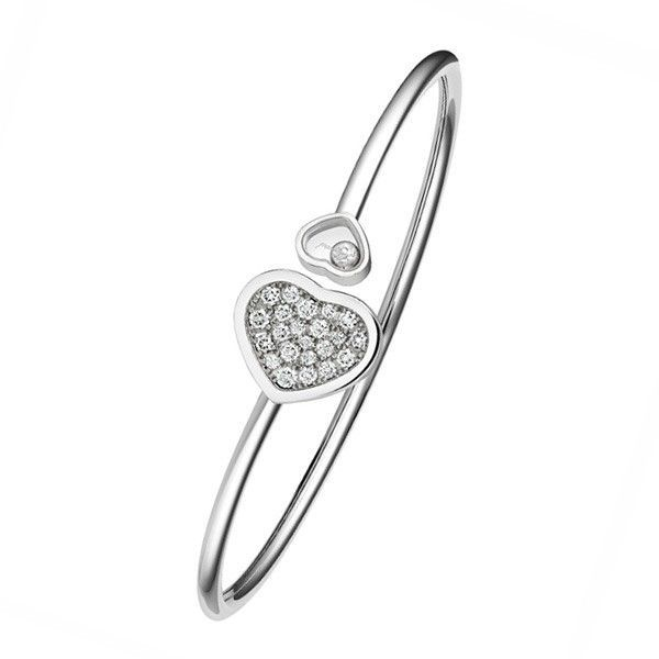 Bracelet Chopard Happy Diamonds Happy Hearts en or blanc et diamants vue 1