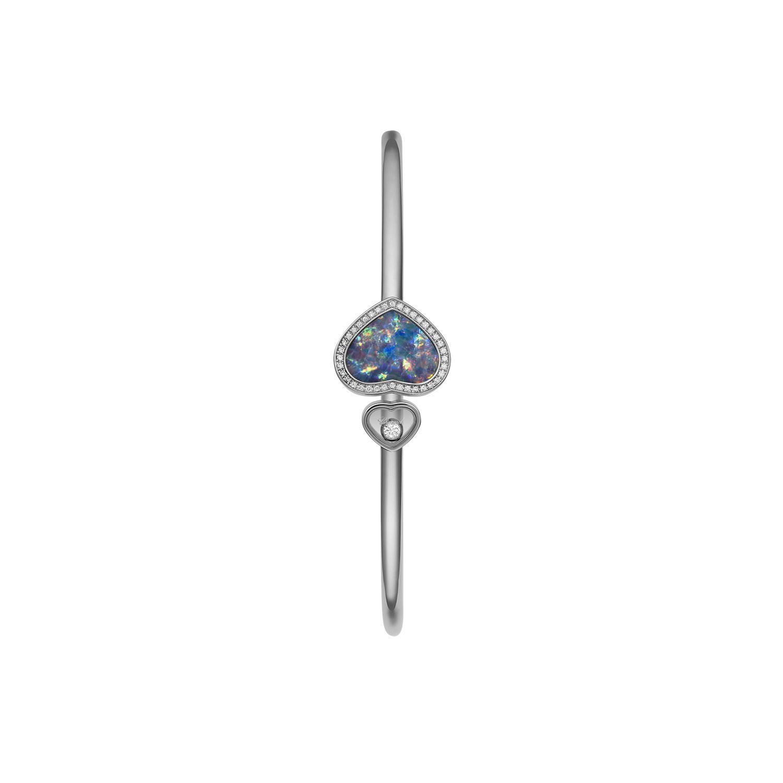 Bracelet Chopard Happy Hearts en or blanc, diamants et opale vue 2