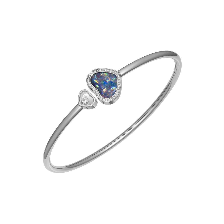 Bracelet Chopard Happy Hearts en or blanc, diamants et opale vue 1