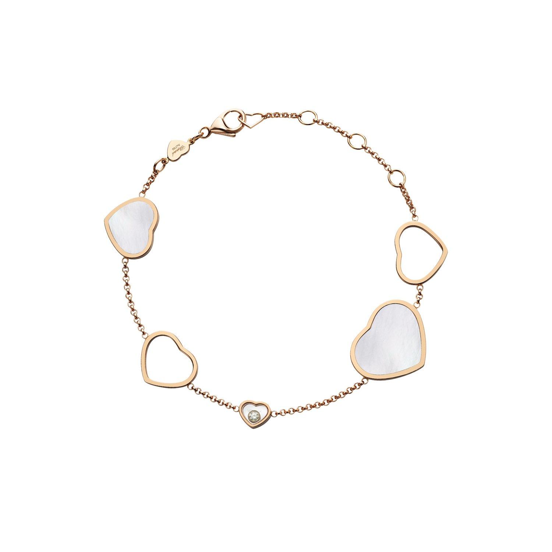 Bracelet Chopard Happy Hearts en or rose, diamant et nacre vue 1