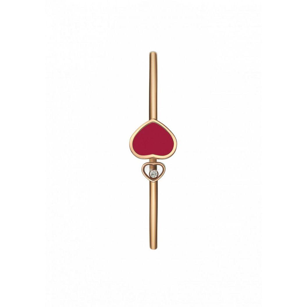 Bracelet Chopard Happy Diamonds Happy Hearts en or rose et diamant, pierre rouge vue 2