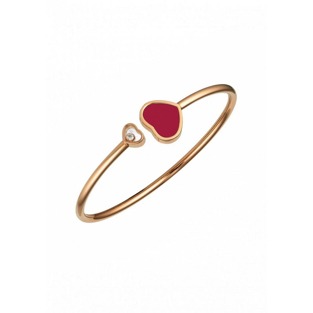 Bracelet Chopard Happy Diamonds Happy Hearts en or rose et diamant, pierre rouge vue 1