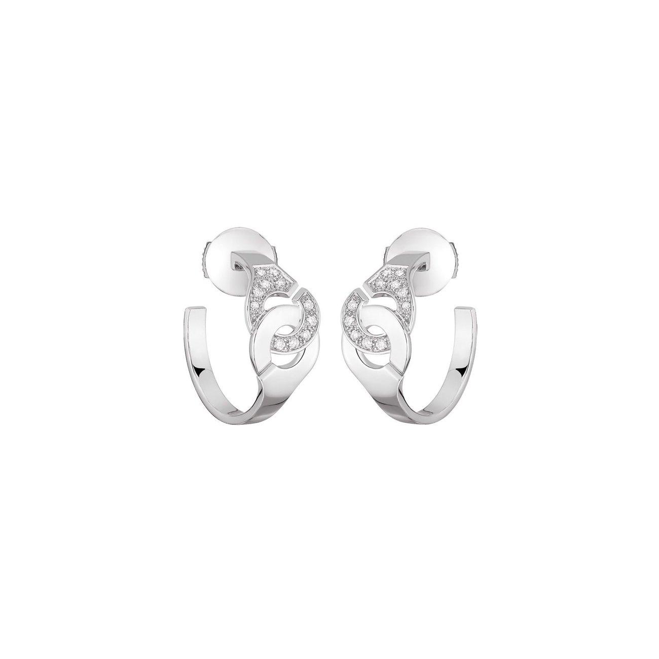 Boucles d'oreilles créoles dinh van Menottes dinh van en or blanc et diamants