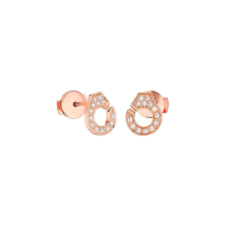 Boucles d'oreilles dinh van Menottes dinh van R 7.5 en or rose et diamants vue 1