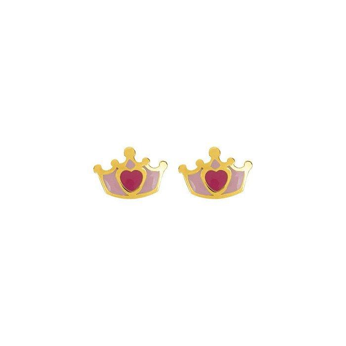 Boucles d'oreillles couronne en or jaune