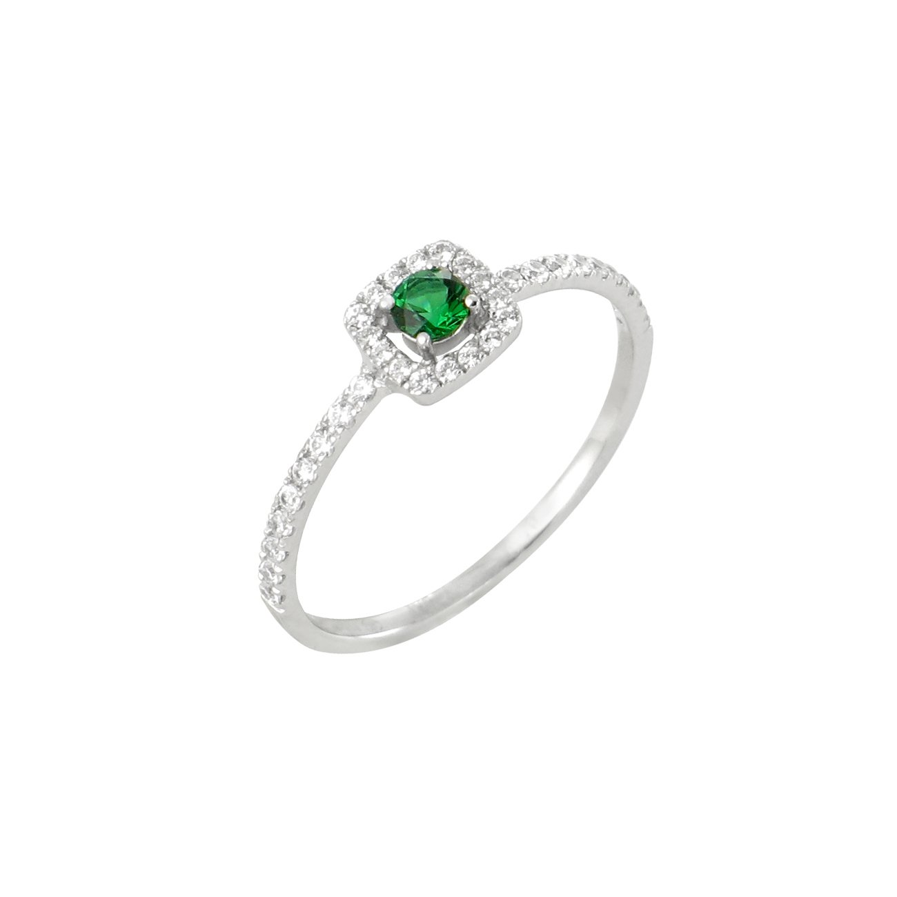 Bague en or blanc, diamants de 0.20ct et émeraude de 0.11ct