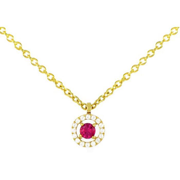 Collier en or jaune, diamants de 0.07ct et rubis de 0.15ct