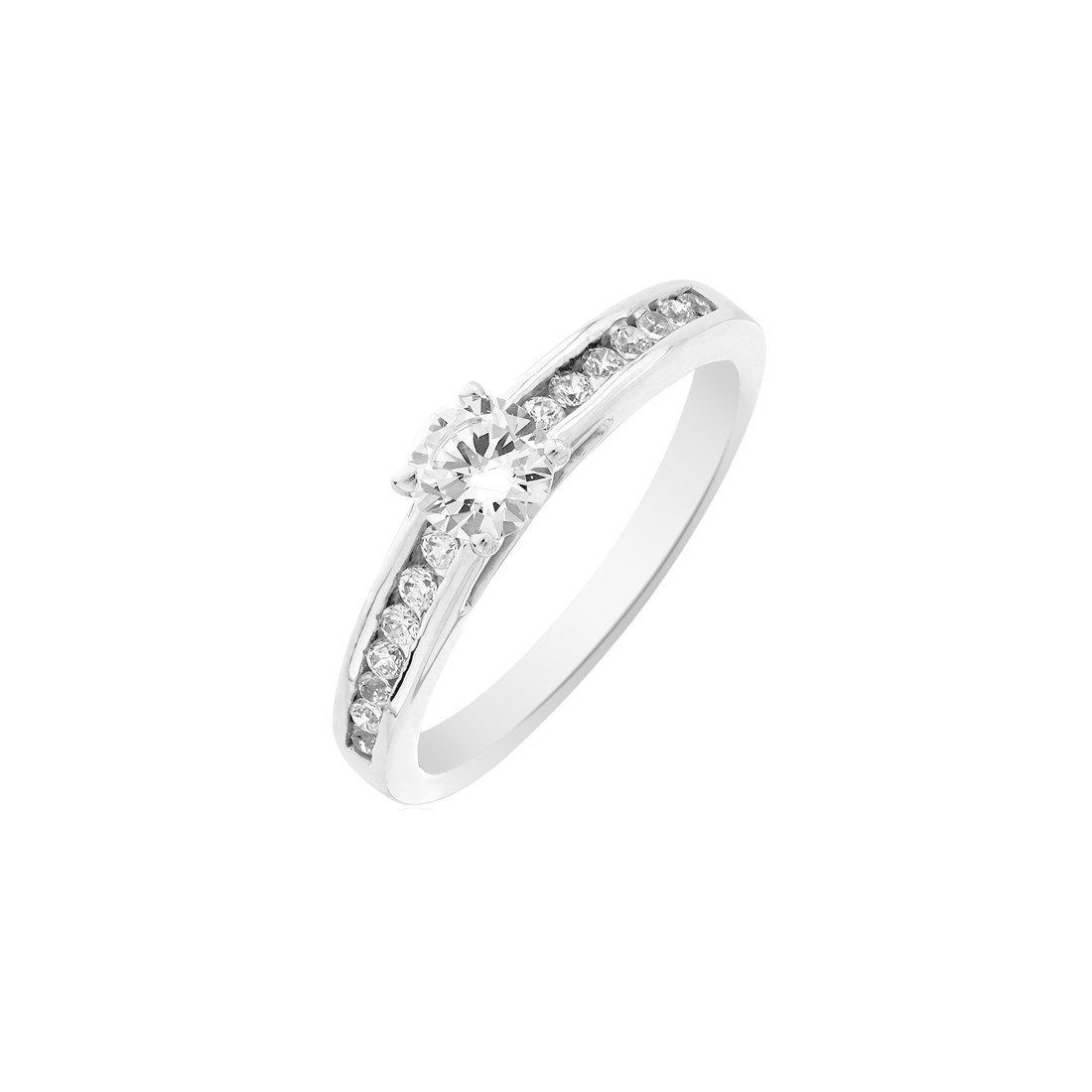Solitaire accompagné en or blanc et diamants de 0.22ct vue 1