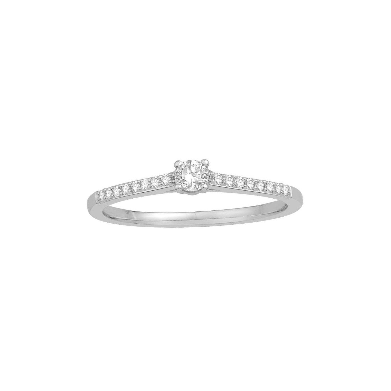 Solitaire accompagné en or blanc et diamant de 0.19ct vue 1