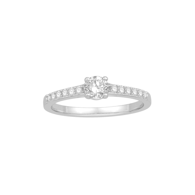 Solitaire accompagné en or blanc et diamant de 0.50ct vue 1