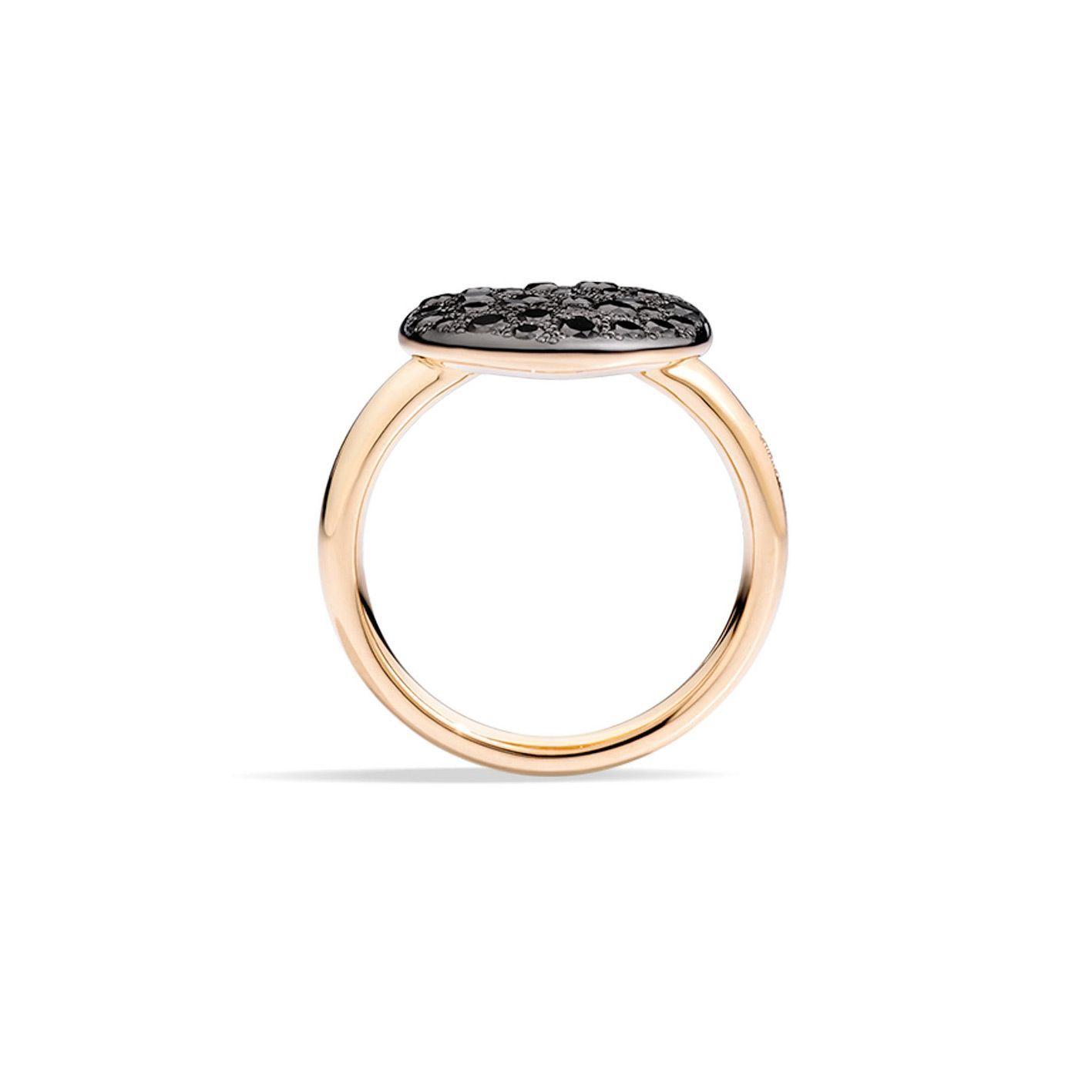 Bague Pomellato Sabbia en Or rose et Diamant noir vue 2