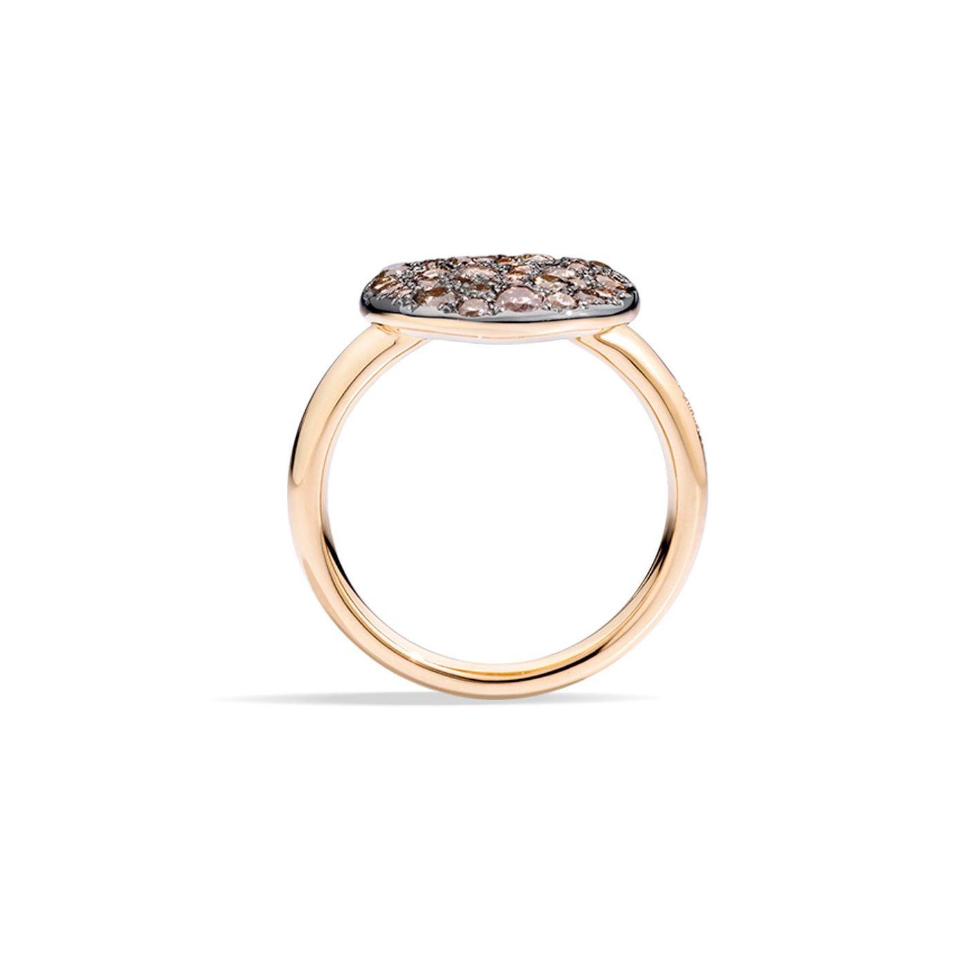 Bague Pomellato Sabbia en Or rose et Diamant brun vue 3
