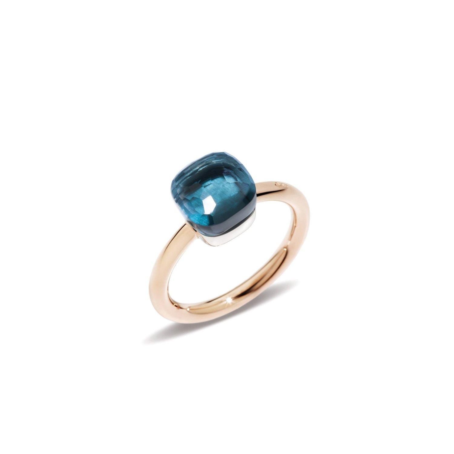 Bague Pomellato Nudo en or rose, or blanc, topaze bleue london et tsavorites