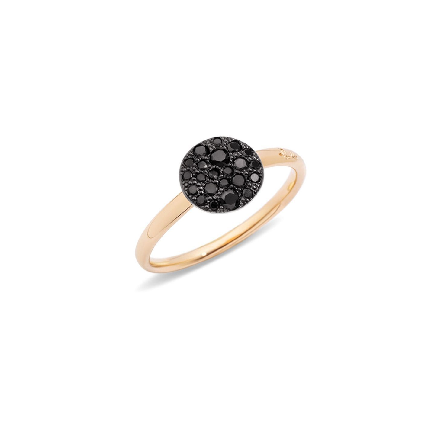 Bague Pomellato Sabbia petit modèle en Or rose et Diamant noir vue 1