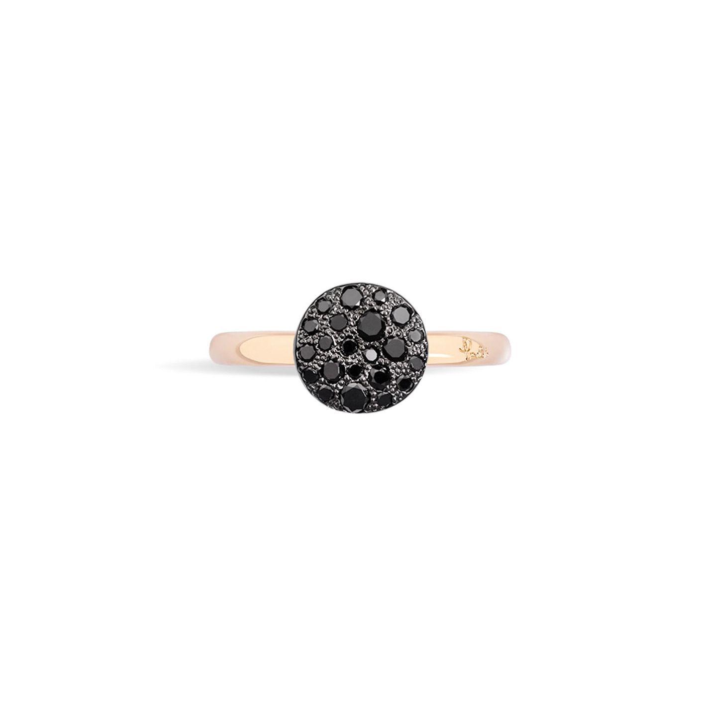 Bague Pomellato Sabbia petit modèle en Or rose et Diamant noir vue 3
