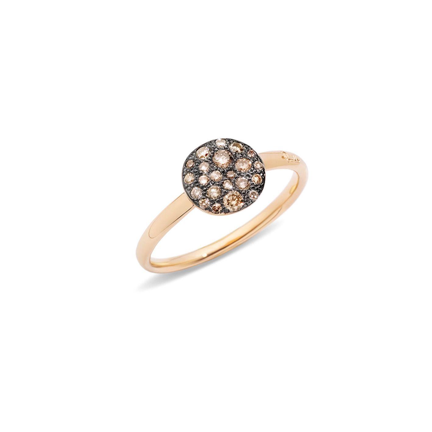 Bague Pomellato Sabbia petit modèle en Or rose et Diamant brun vue 1