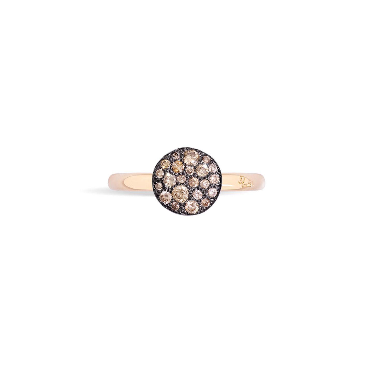 Bague Pomellato Sabbia petit modèle en Or rose et Diamant brun vue 2