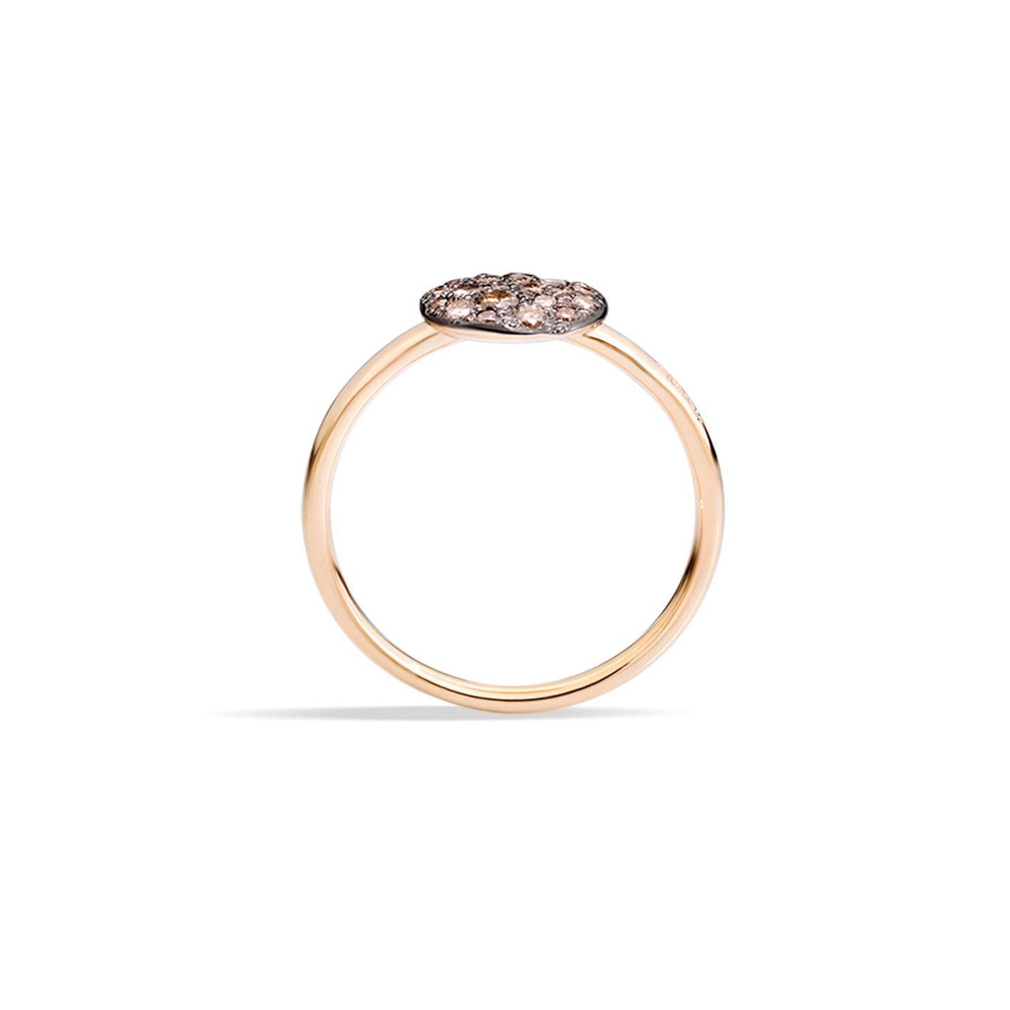 Bague Pomellato Sabbia petit modèle en Or rose et Diamant brun vue 3