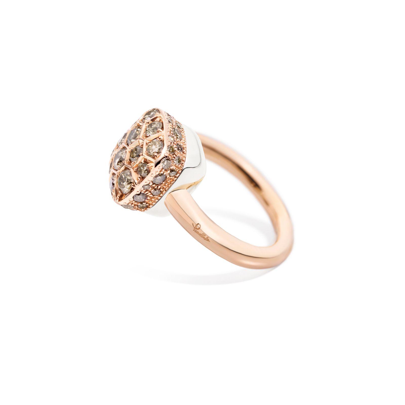 Bague Pomellato Luna en or rose, or blanc et diamants marrons vue 2