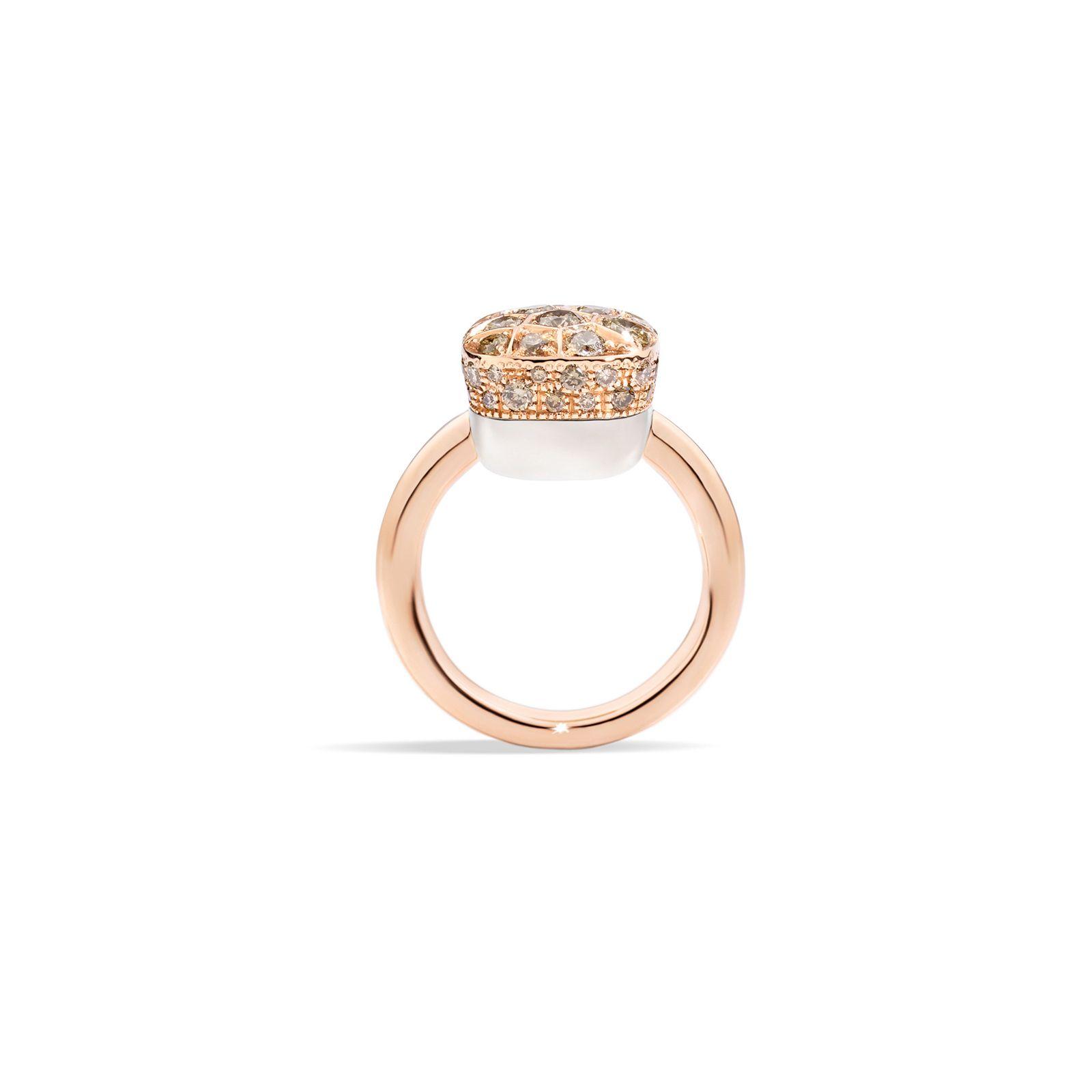 Bague Pomellato Luna en or rose, or blanc et diamants marrons vue 3