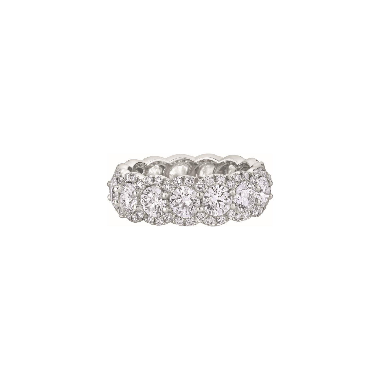 Alliance Tour complet pavée de Diamants taille brillant en or blanc palladié