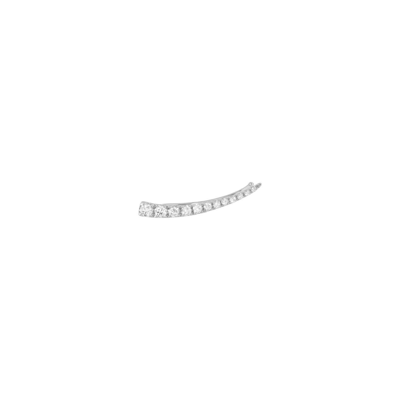 Mono boucle d'oreille Djula Single Barre Griffée en or blanc et diamants