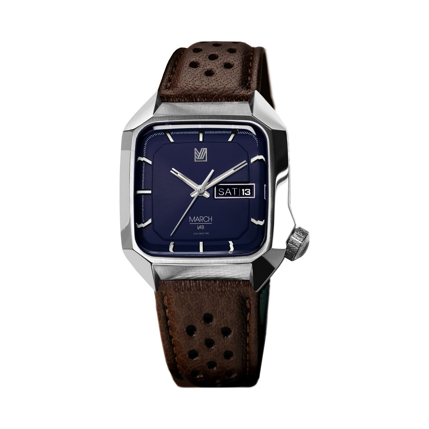 Montre March L.A.B AM2 Electric - Navy - buffle brown perforated