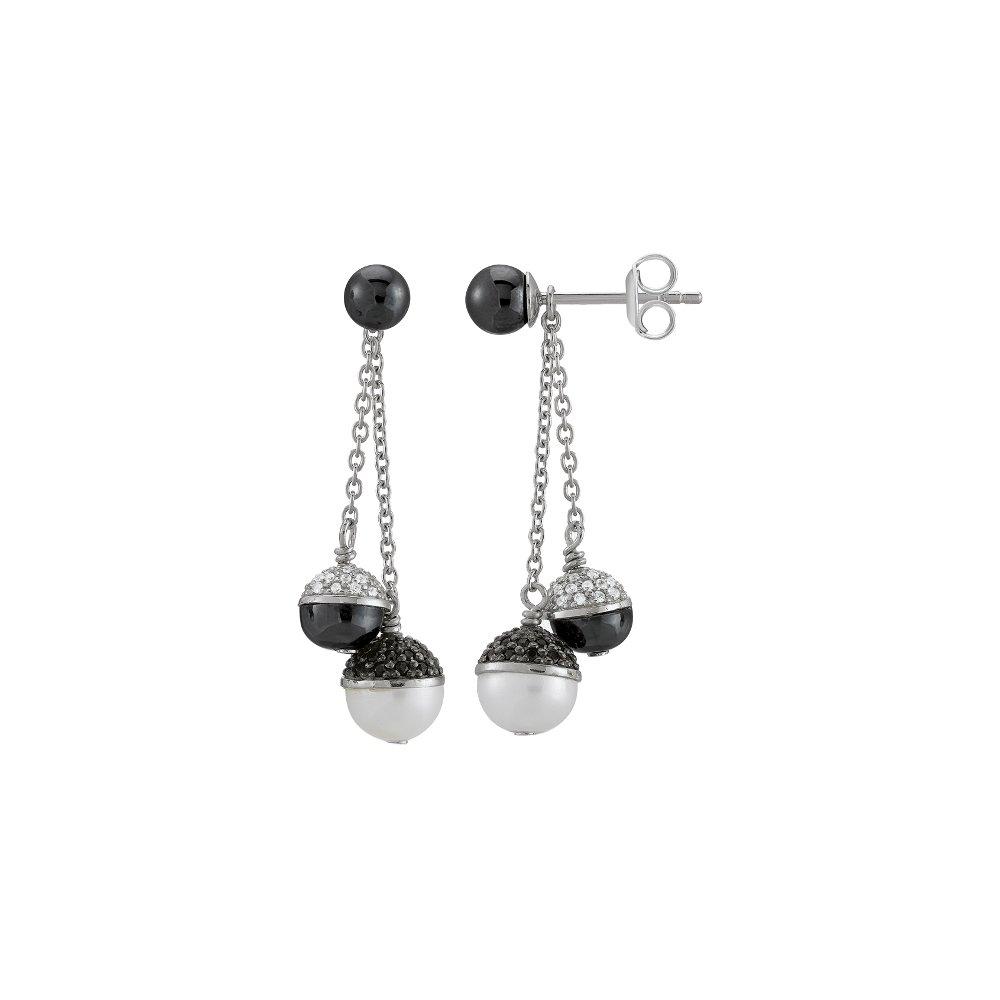Boucles d'oreilles Jourdan Bijoux Epsilon en argent et oxydes de zirconium