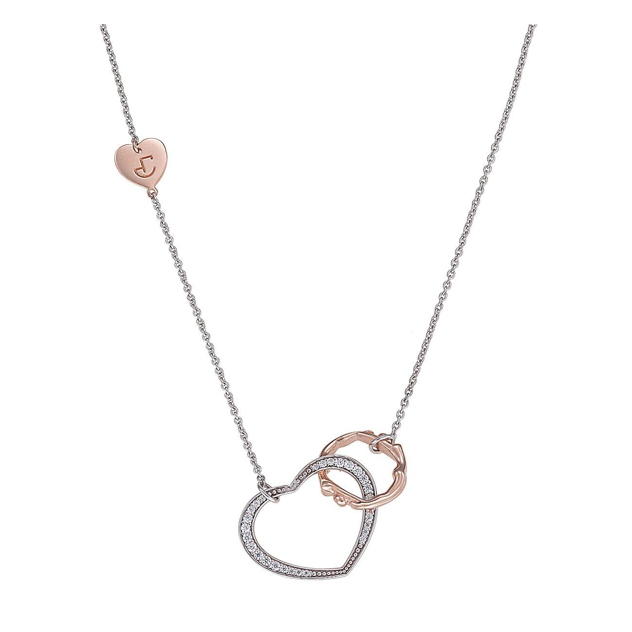 Collier Jourdan Bijoux Valentine en argent, plaqué or rose et oxyde de zirconium
