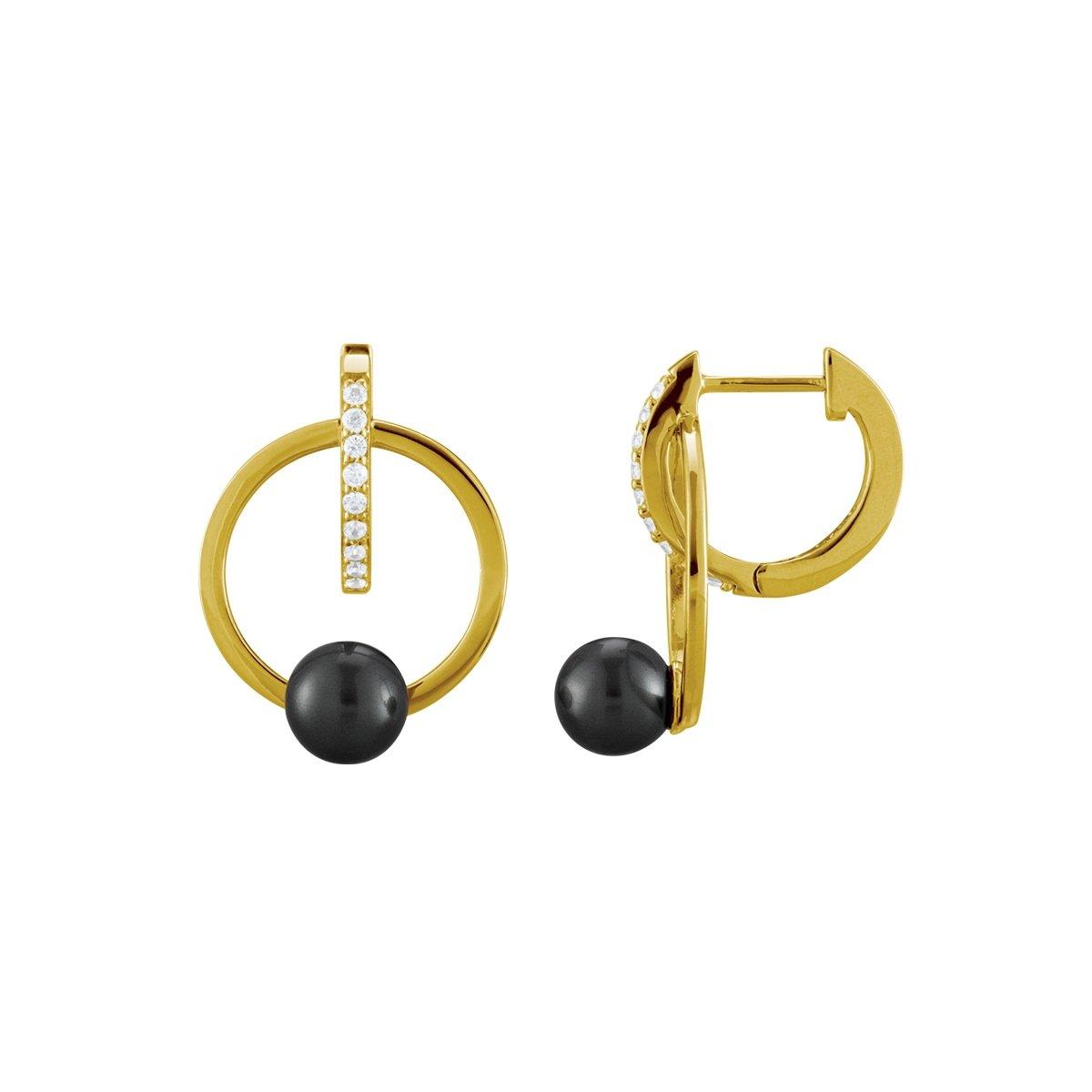 Boucles d'oreilles Jourdan Bijoux Venus en argent, oxyde de zirconium et perles