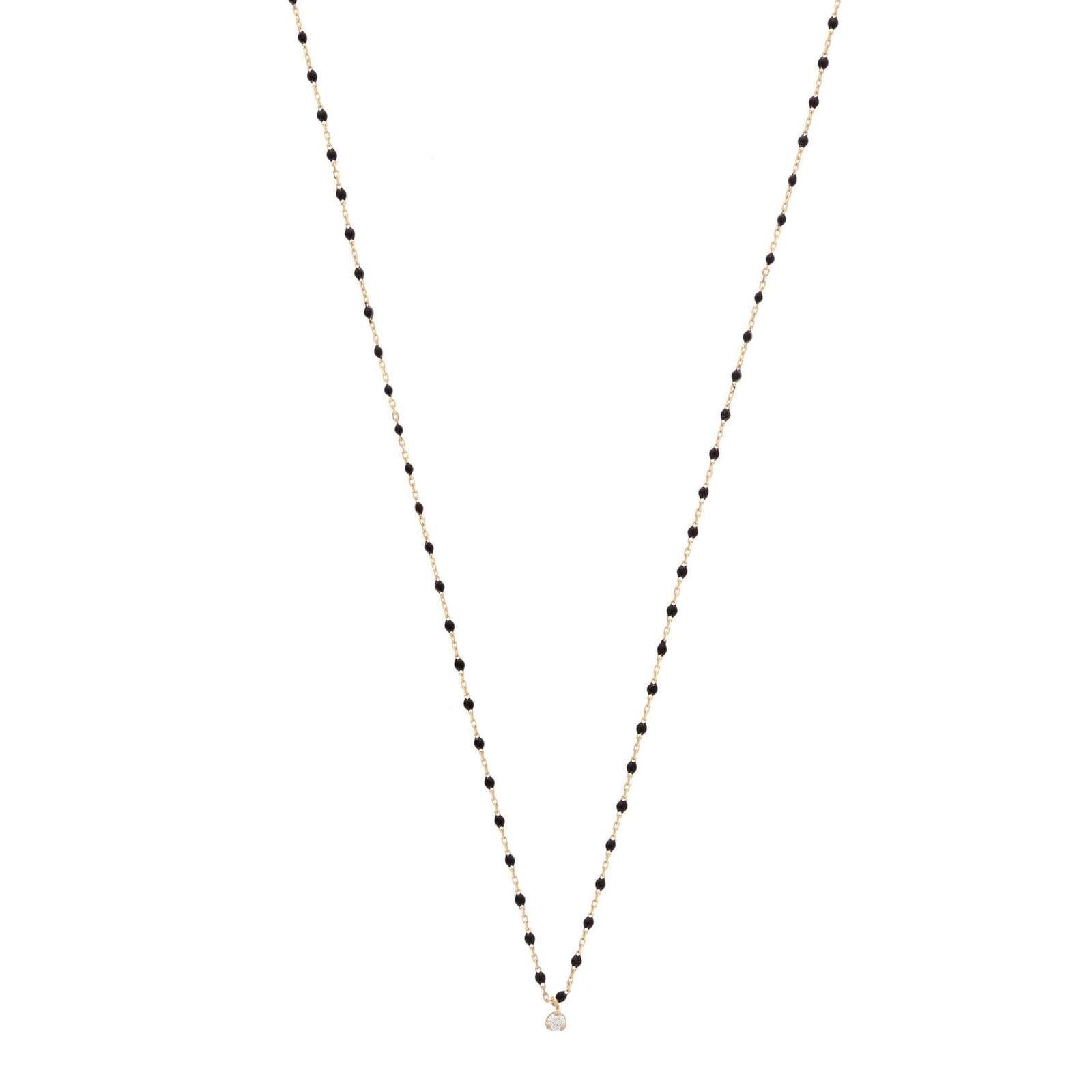 Collier Gigi Clozeau Mini en or rose, résine noire et diamant vue 1