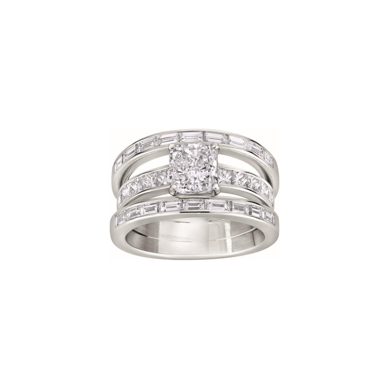 Bague 3 anneaux diamant taille coussin, sertie de diamants tailles baguette et princesse en or blanc palladié