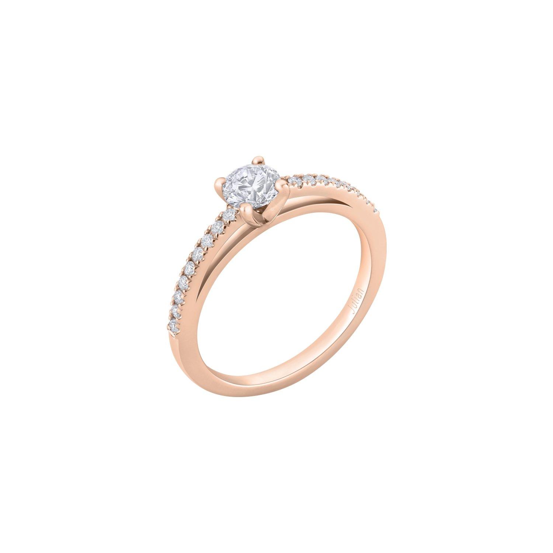Bague solitaire diamant taille brillant corps serti en or rose