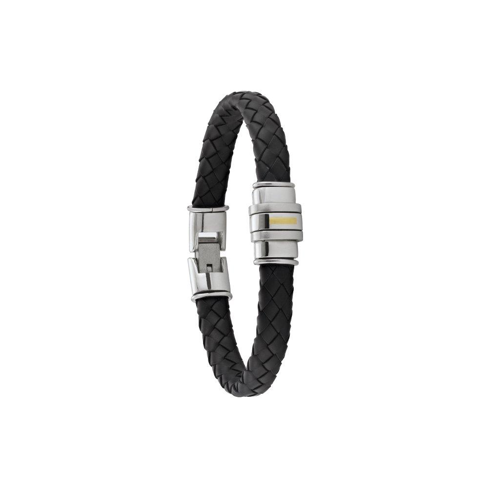 Bracelet Jourdan Bijoux Zweig en cuir noir et acier