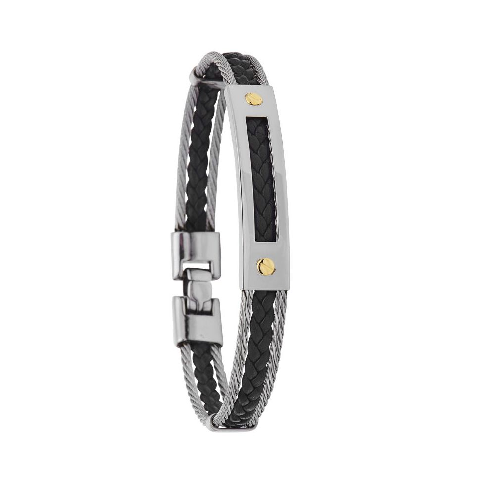 Bracelet Jourdan Bijoux Versant en acier, cuir