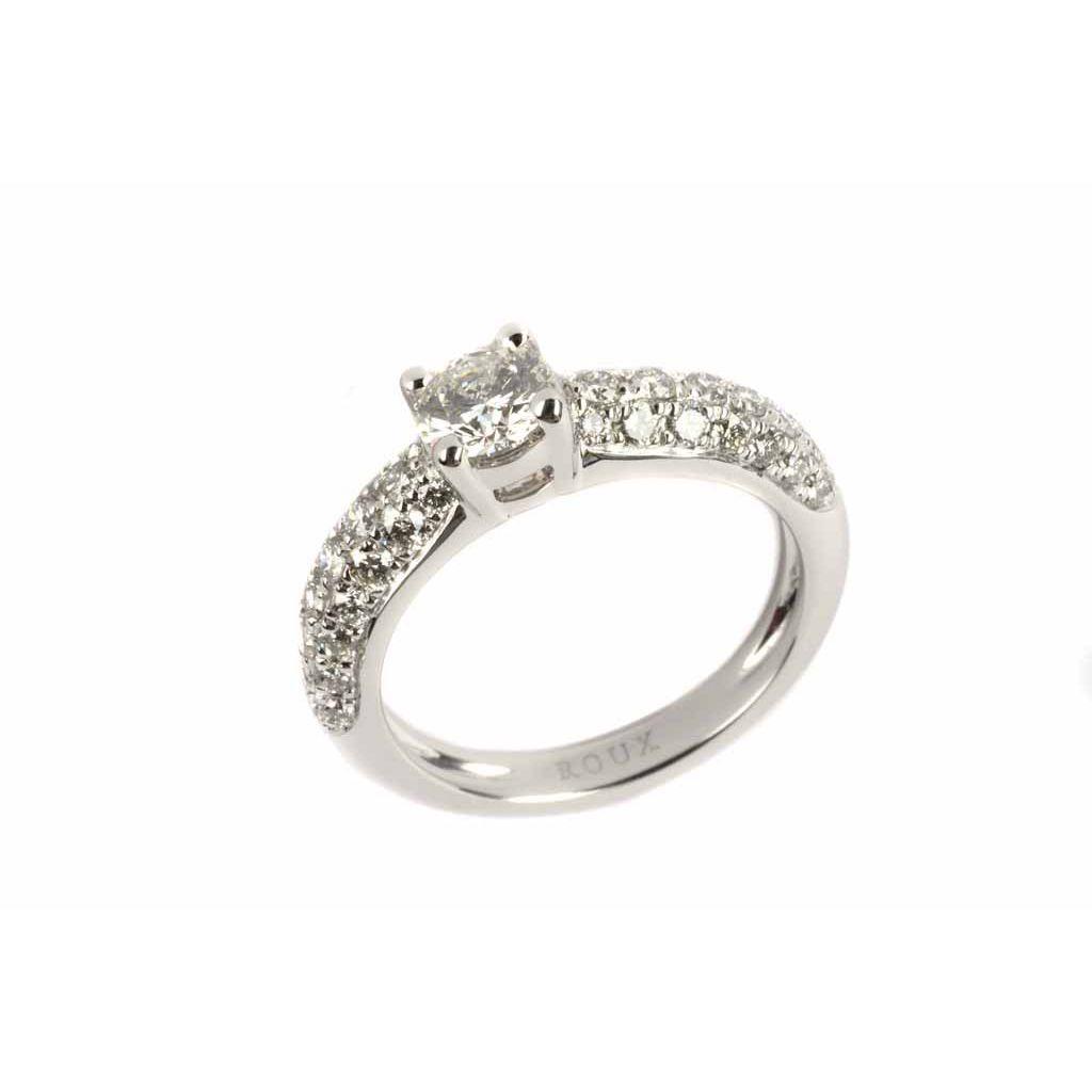 Bague en or blanc, diamant taille brillant de 0.49ct et 42 diamants de 0.53ct, taille 53 vue 1