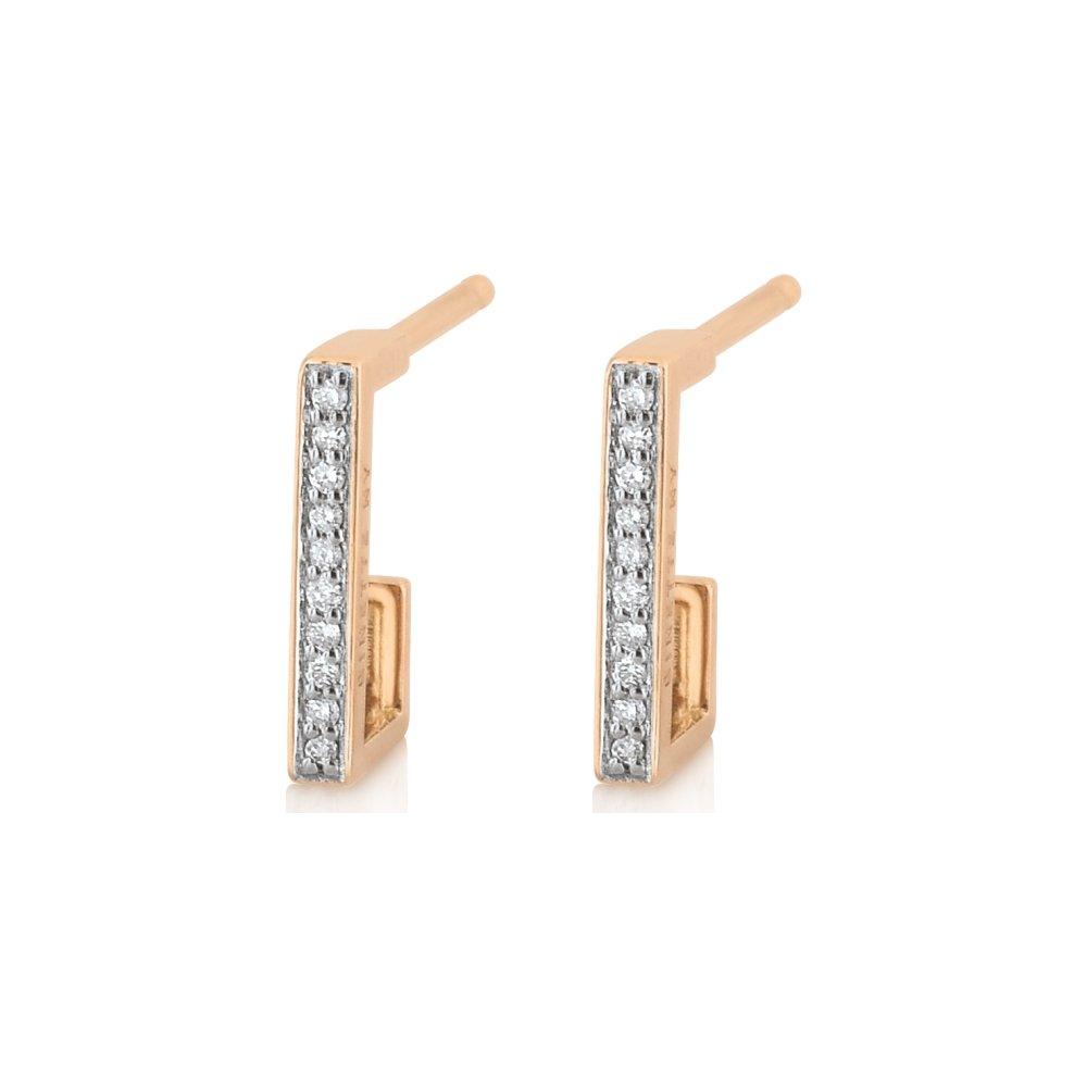 Boucles d'oreilles GINETTE NY ART DECO en or rose et diamant