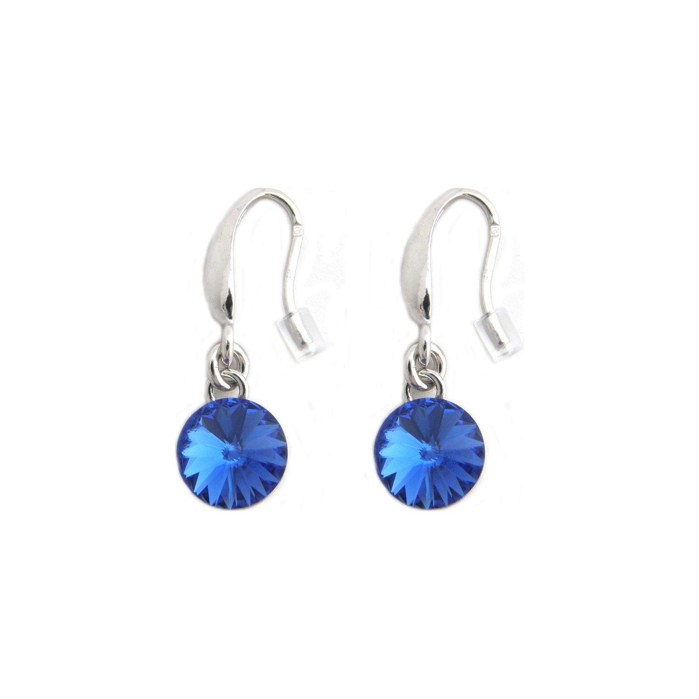 Boucles d'oreilles Indicolite Emily en argent et cristaux Swarovski bleus